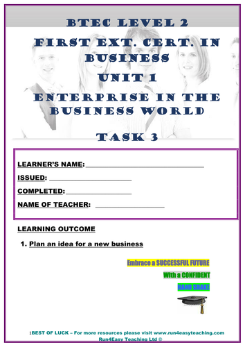 WORKSHEET– ENTERPRISE IN THE BUSINESS WORLD–P3 (UNIT 1 - BTEC L2 FIRST EXT. CERT. IN BUSI.)