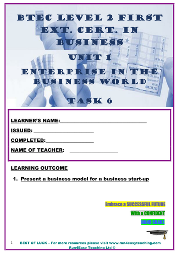 WORKSHEET– ENTERPRISE IN THE BUSINESS WORLD– P6 (UNIT 1 - BTEC L2 FIRST  EXT  CERT  IN BUSI )