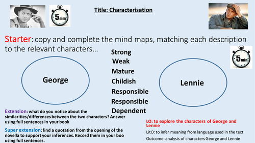 character analysis of lennie and george Of mice and men is a novella published in 1937, it tells the story of george milton and lennie small  characters i was a bindlestiff.