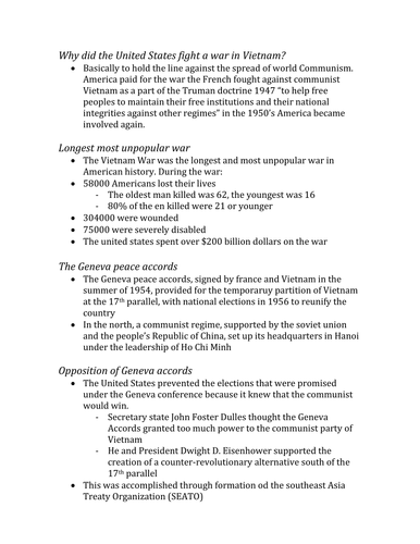 IB History Notes on Vietnam