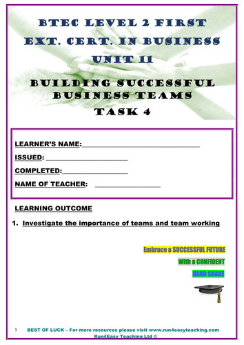 WORKSHEET–BUILDING SUCCESSFUL BUSINESS TEAMS–P4 (UNIT11- BTEC L2 FIRST EXT. CERT. IN BUSI.)