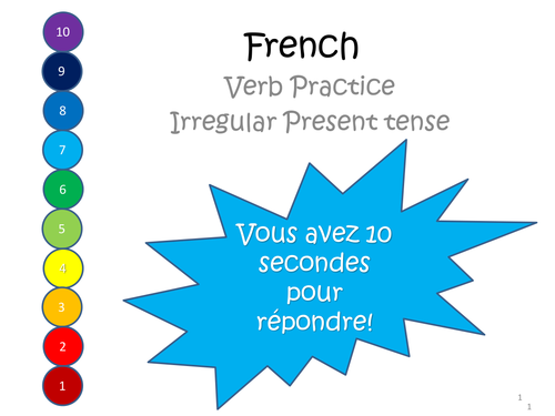 French Irregular Present tense Verb game