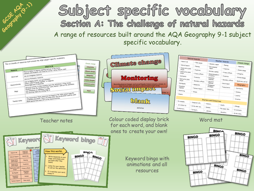 AQA Geography 9-1 Subject Specific Vocabulary - The challenge of natural hazards - Resources