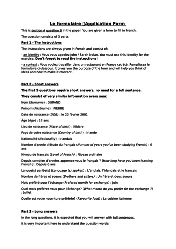 Le Formulaire - Notes on how to complete the 'CV'/'Form' from OL Leaving Cert exam