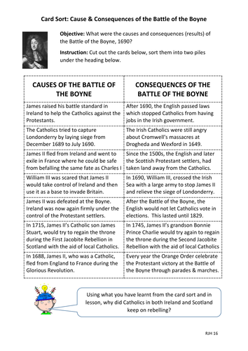 Card Sort: Cause & Consequences of the Battle of the Boyne, 1690