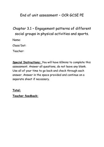 Chapter 3.1 Engagement patterns in sport assessment and mark scheme OCR GCSE PE 2016 spec
