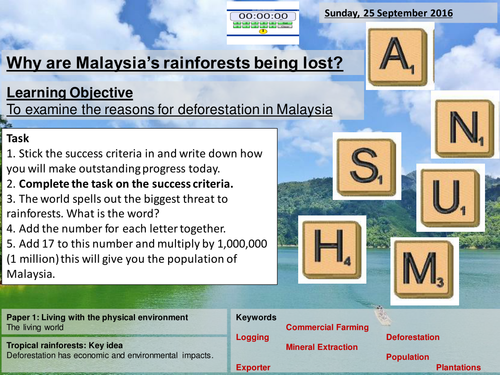 Causes of deforestation (Malaysia) - AQA2016 Living World