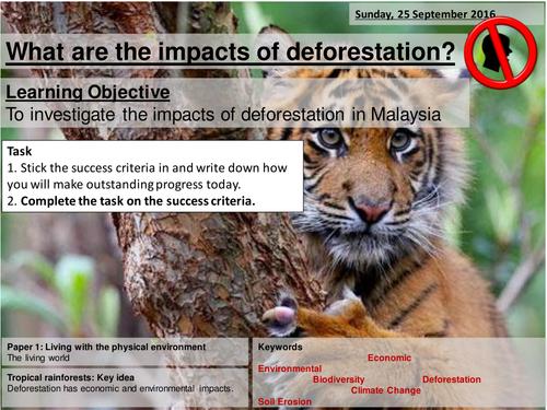 Impacts of deforestation (Malaysia) - AQA2016 Living World