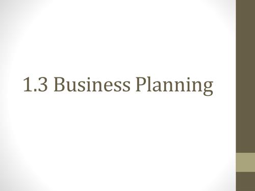 Business Planning GCSE Business Studies