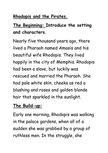 Ancient Egyptian Myths Resources Year 3: Rhodophis and the Red Rose Slippers.