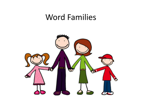 English: Word Families Lesson - Powerpoint and worksheet (differentiated)