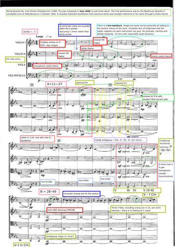 Edexcel Music A2 Shostakovich String Quartet no. 8 annotated PDF score - A2 Music 2016-7