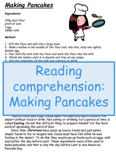 Reading comprehension: Making Pancakes