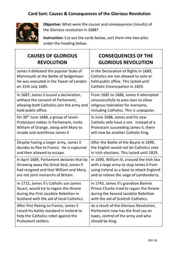 Card Sort: Causes & Consequences of the Glorious Revolution, 1688.