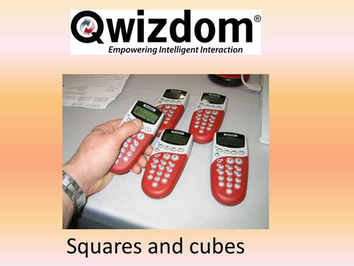 Maths QWIZDOM Powerpoint - Square and Cube Numbers Revision Quiz