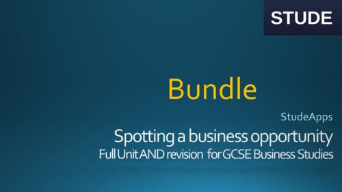 Spotting a business opportunity GCSE Business Studies bundle