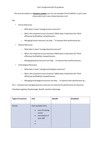 BTEC Business unit 2 M1 D1 help - writing frame - Business resources