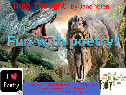 Poetry lesson(s) analysing a short poem about dinosaurs. Ideal for National Poetry Day!