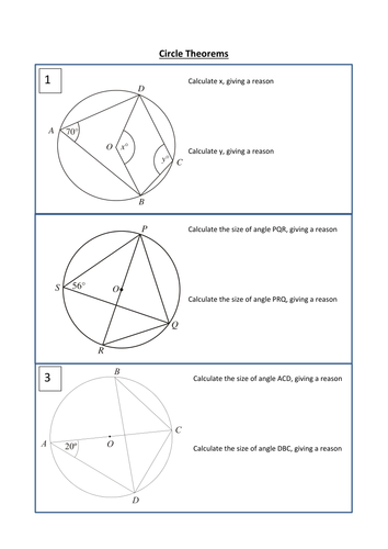 Circle theorems Exam Style Questions with answers