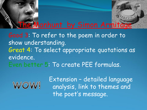 Poetry: The Manhunt by Simon Armitage (powerpoint, worksheet and SA grade charts)