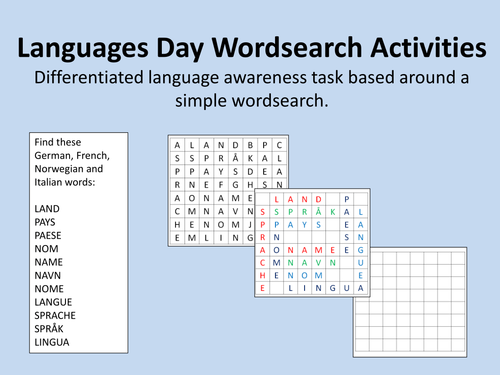 Languages Day/Language awareness wordsearch activities with differentiation