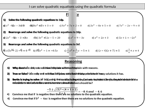 Quadratic formula - mastery worksheet by jmathsresources ...