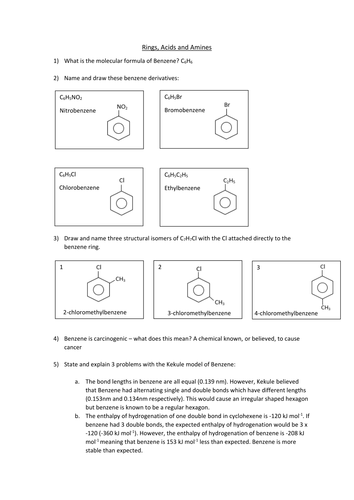 Benzene Revision Questions for new 2015 OCR A Level syllabus. Answers included.