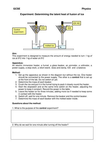 Latent heat of fusion experiment worksheet - GCSE