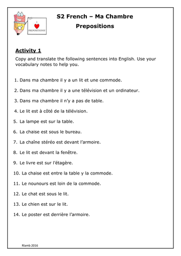 French prepositions within bedroom ma chambre topic by for Chambre english