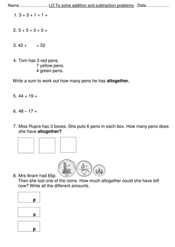 Year 2/Key Stage 1 Maths SATS Paper 2 Reasoning Questions Revision ...