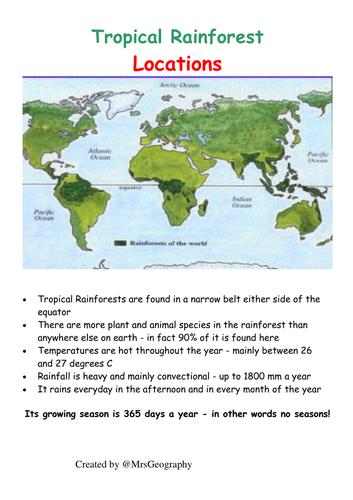 Tropical rainforest plant adaptations - Information sheets