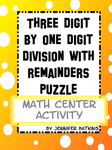 Division with remainders : Three Digit by One Digit