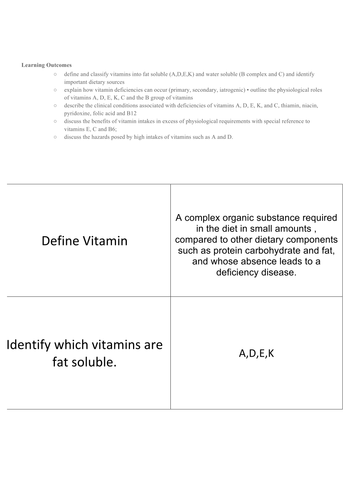 A set of flashcards on Vitamins and deficiency diseases. Good for IBDP Option D