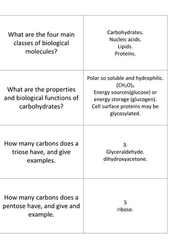 Revision of Biochemistry Biological Molecules Editable.