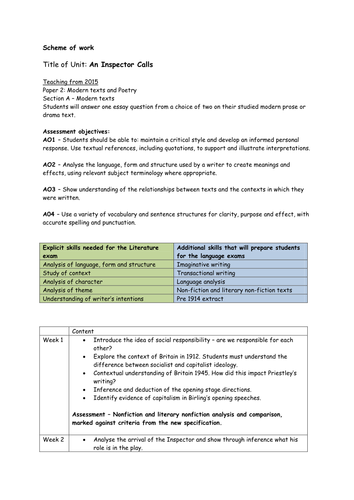 An Inspector Calls New specification GCSE 9-1 Medium term plan MTP SOW with GCSE assessments