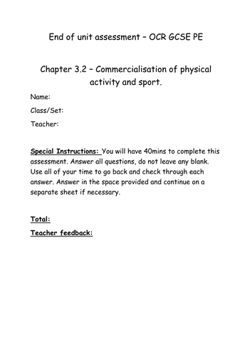 Chapter 3.2 Commercialisation in sport chapter assessment and mark scheme OCR GCSE PE 2016 spec