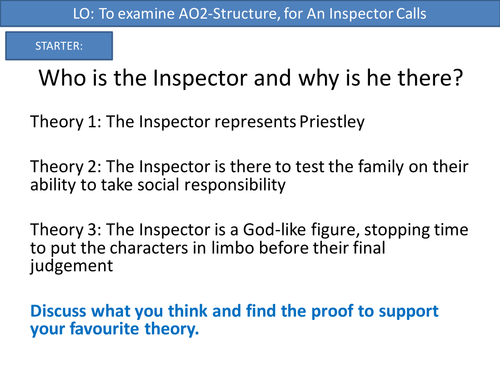 Structure and examination of AQA AOs for An Inspector Calls