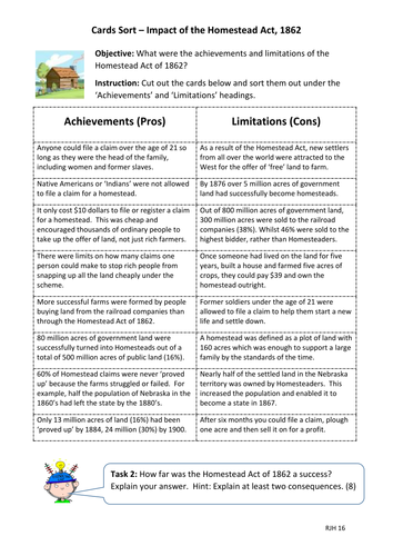 Card Sort: What were the pros and cons of the Homestead Act of 1862?