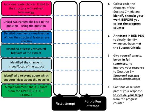 AQA Paper 1 - Structure Self/Peer Assessment