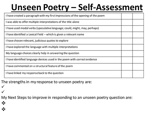 AQA Lit - Unseen Poetry Self/Peer Assessment