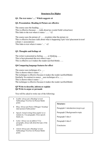 AQA English Language and Only Higher/ Foundation Revision Structures