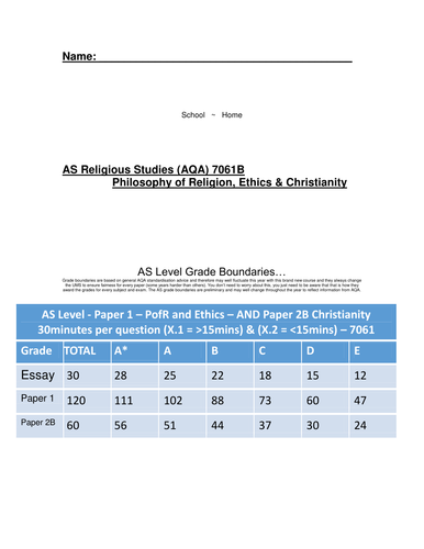 AQA AS Religious Studies Student Handbook & Marking Grid (New Spec)