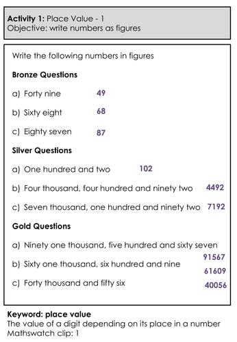 Differentiated Homework Booklet - Grade 1 - Mathematics - Number
