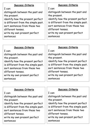Success Criteria - past and present perfect tense