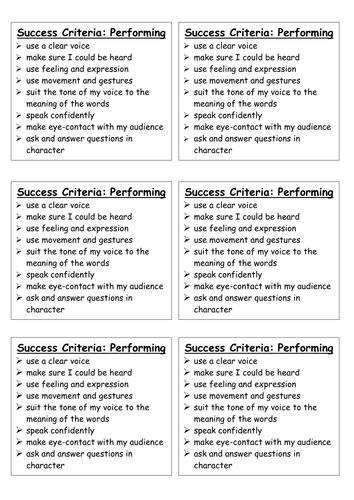 Success Criteria - performing