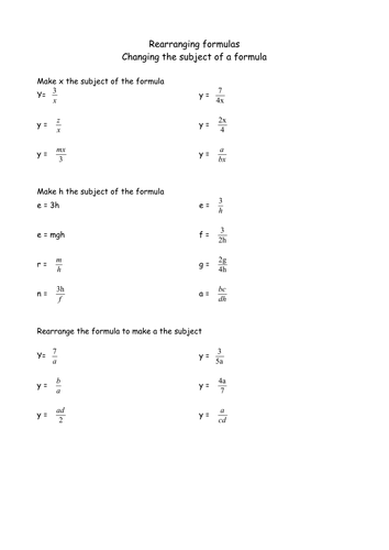 Rearranging Formulae Changing The Subject Of Formulae By Sfreck