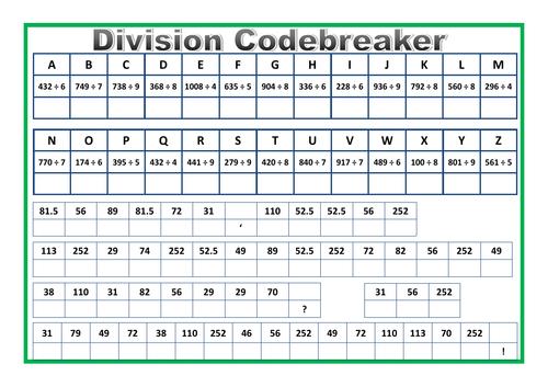 Division Codebreaker Worksheet By Prof689 Teaching