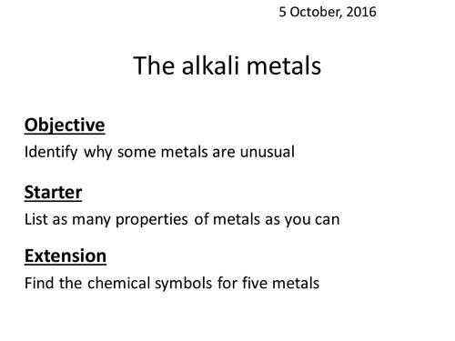 Alkali Metals By Rbarham1 Teaching Resources Tes