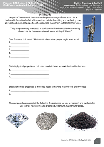 BTEC Level 2 Applied Science - Unit 2 (Assignment B). Worksheet on drill heads!