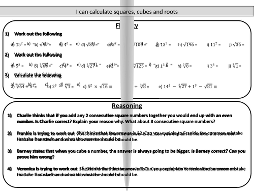 Number Names Worksheets squares and cubes worksheet : Squares, cubes and roots - mastery worksheet by joybooth ...